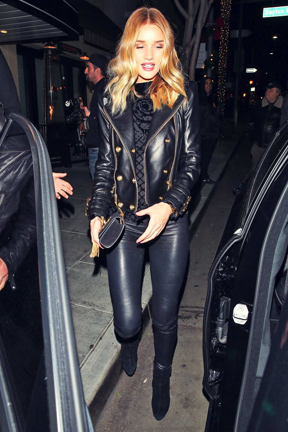 Rosie Huntington Whiteley At The Palm Restaurant Leather