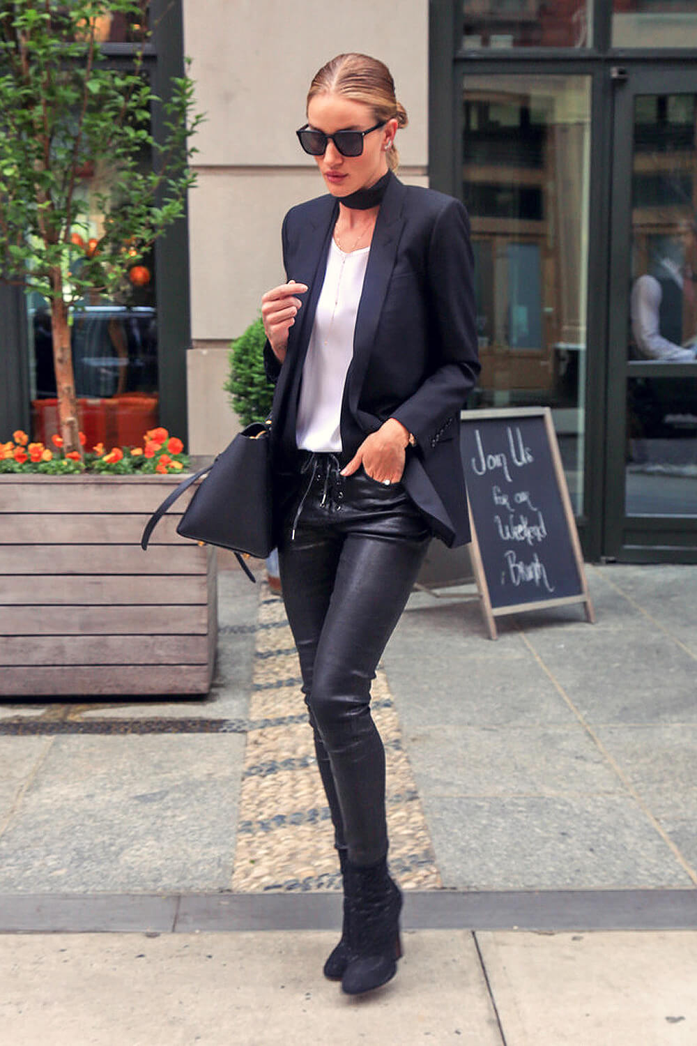 Rosie Huntington Whiteley Is Seen Out In Nyc Leather