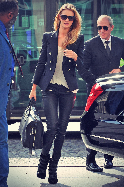 Rosie Huntington-Whiteley leaving their hotel in Paris