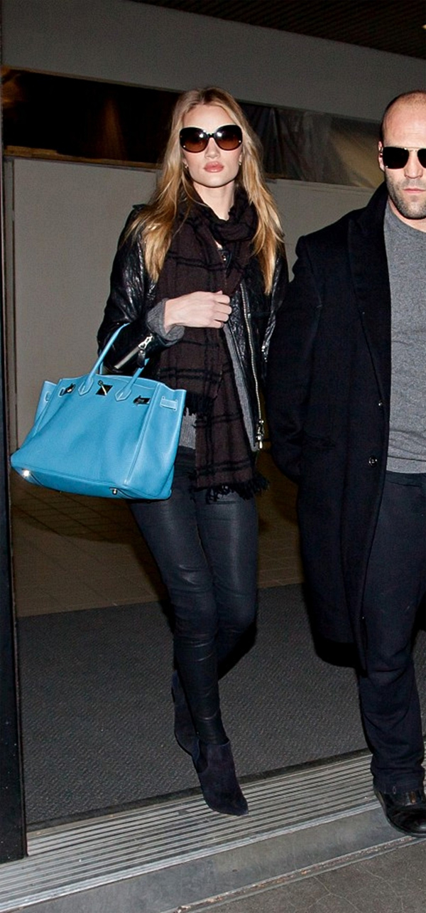 Rosie Huntington-Whitely arrive at LAX with boyfriend Jason Statham