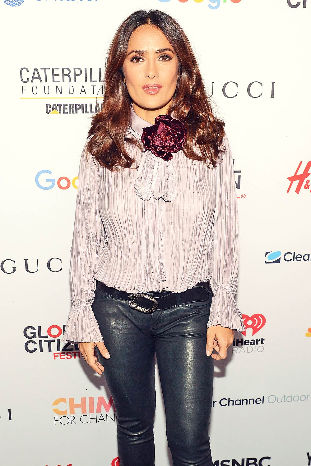 Salma Hayek attends 2015 Global Citizen Festival to end extreme poverty by 2030