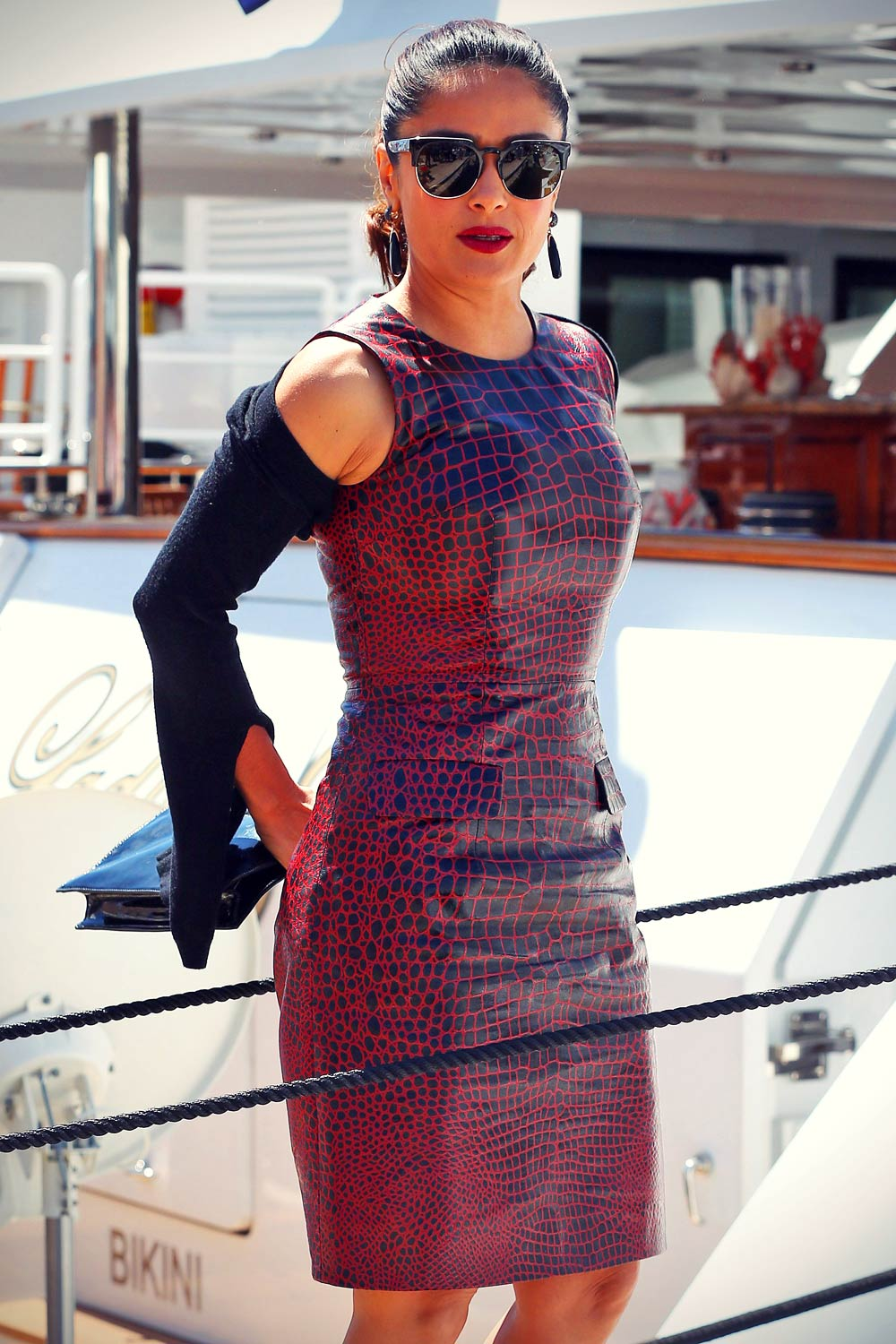 Salma Hayek arriving for a boat party in Cannes Harbour