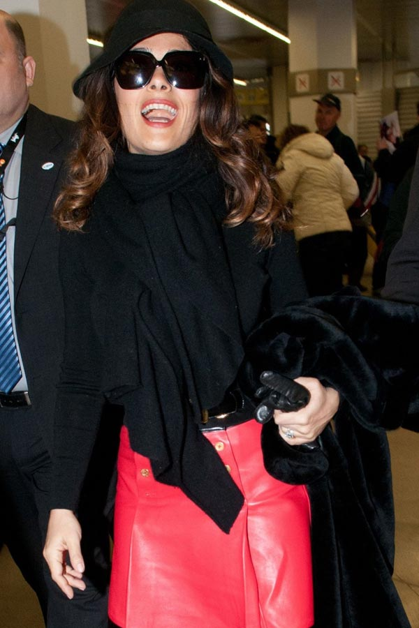 Salma Hayek at Tegel Airport in Berlin