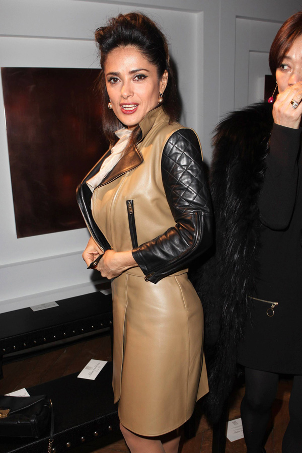 Salma Hayek attends the YSL RTW FW 2012 Fashion Show in Paris