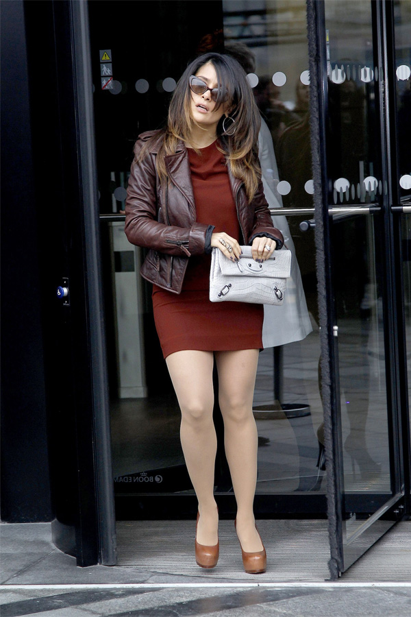 Salma Hayek arrives at Balenciaga Pret A Porter AW