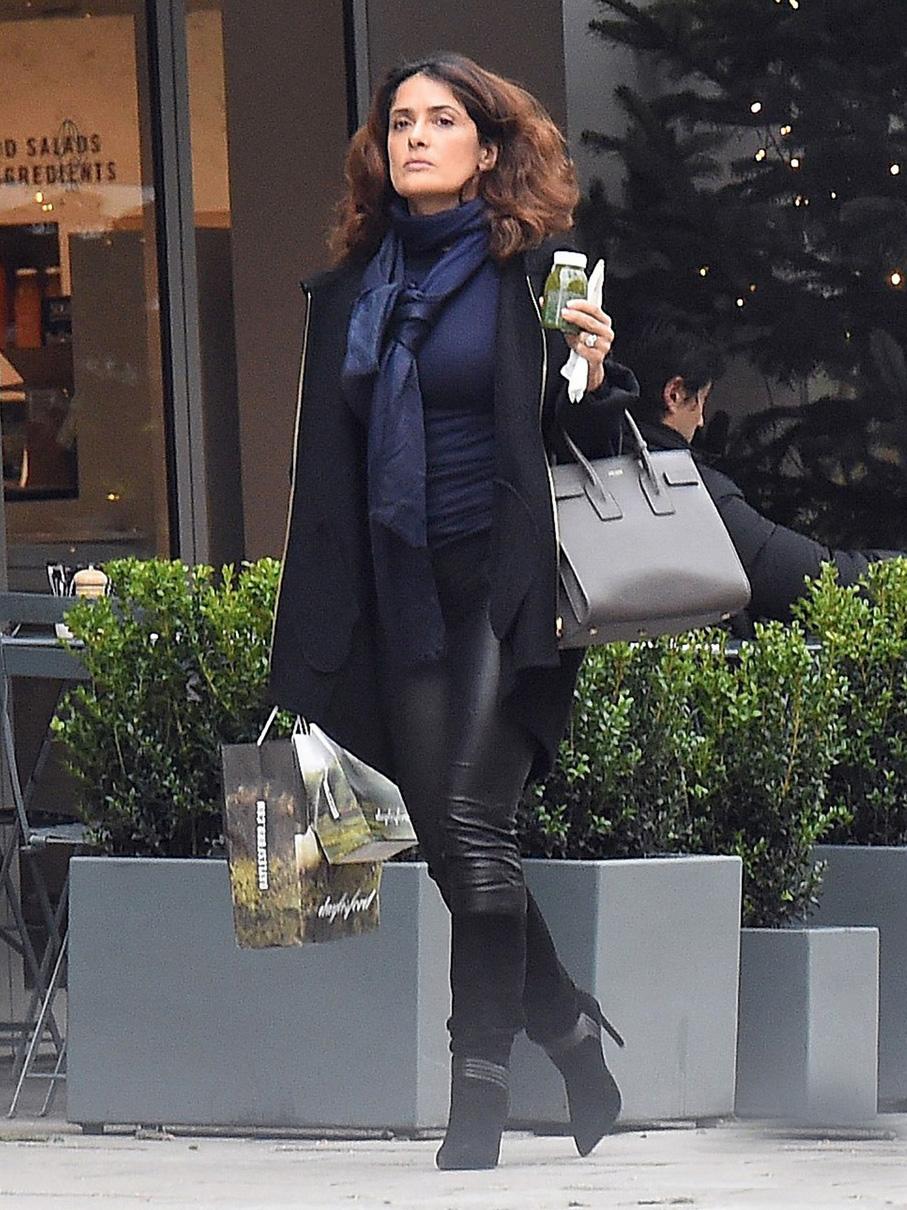 Salma Hayek Shopping In London Leather Celebrities