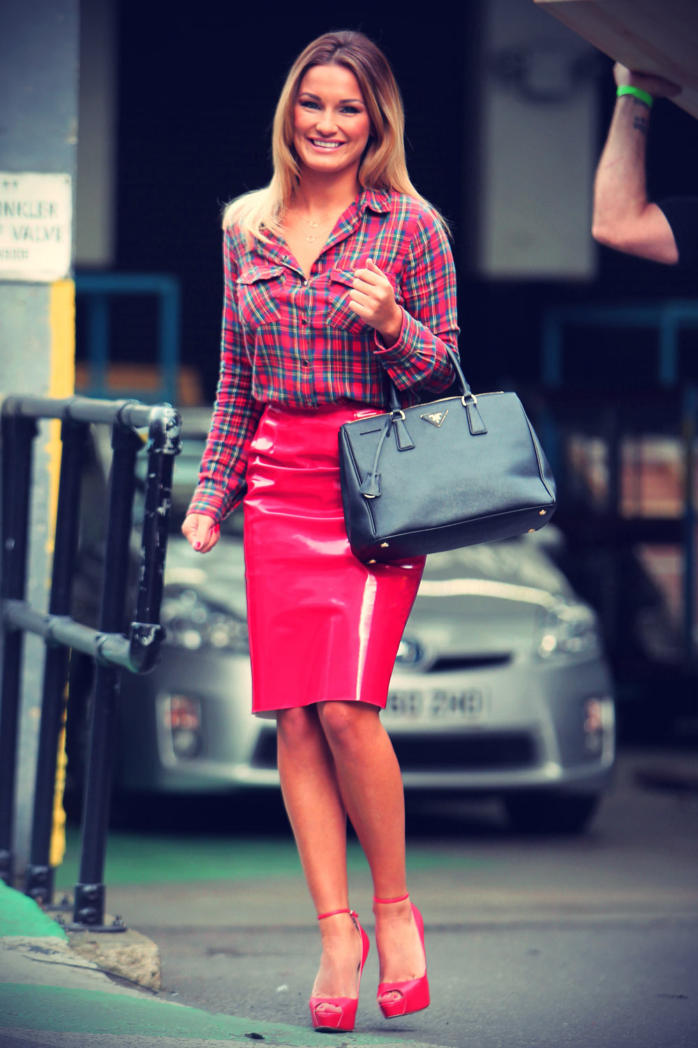 Sam Faiers outside The London studios