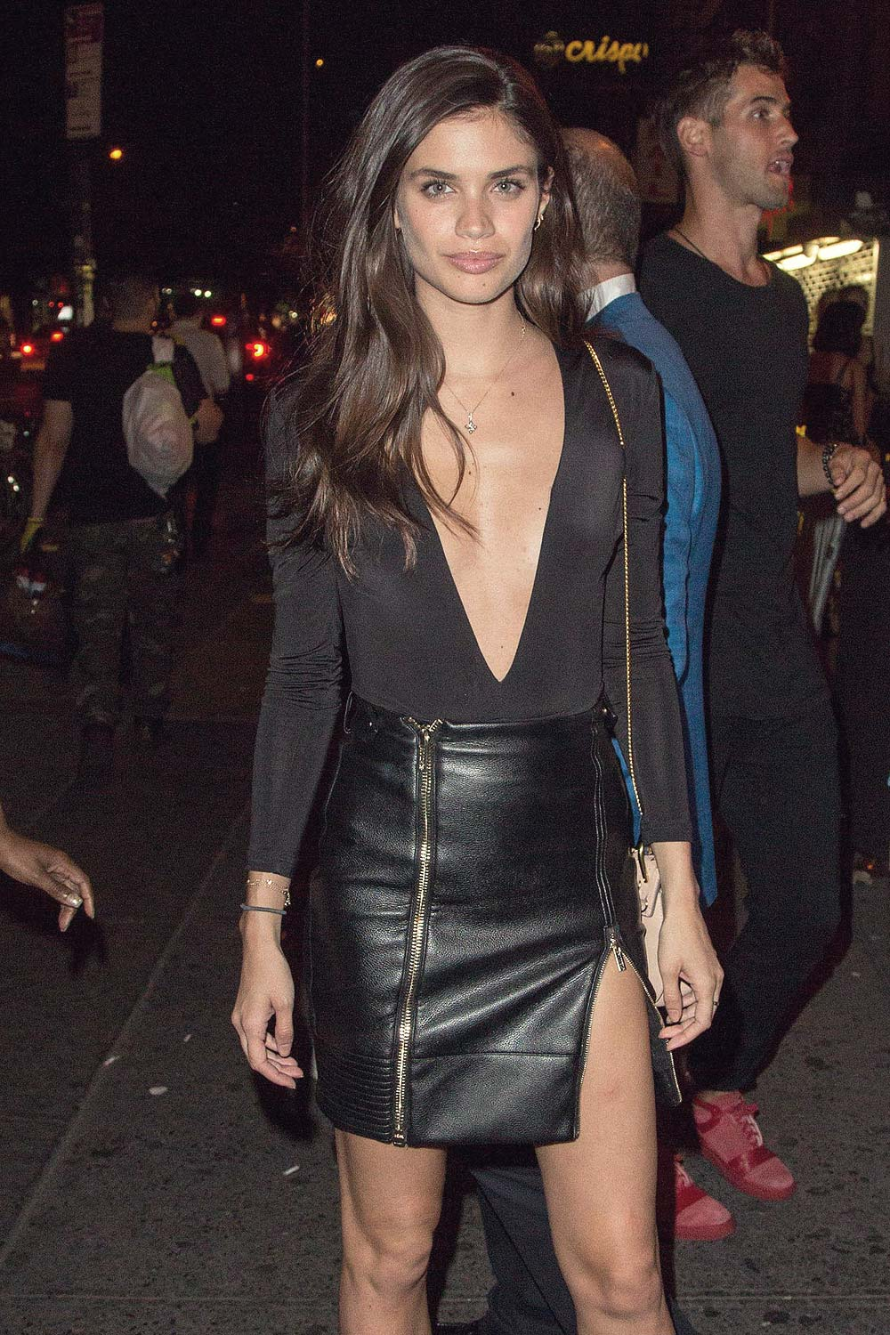 Sara Sampaio Night Out In Nyc Leather Celebrities