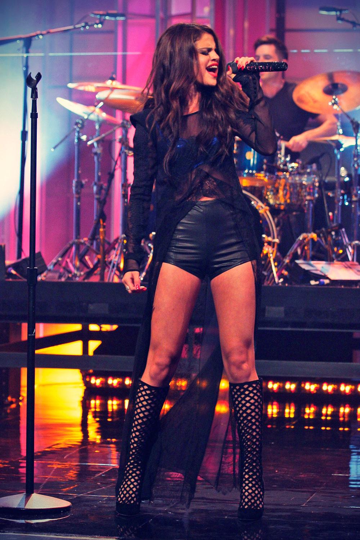Selena Gomez performing on The Tonight Show with Jay Leno