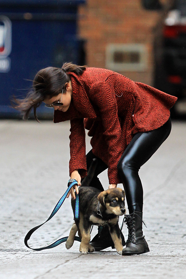 Selena Gomez out with her dog in Toronto