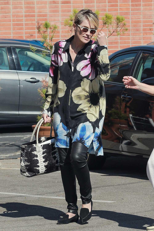 Sharon Stone to get her hair done at Ramirez Tran Salon