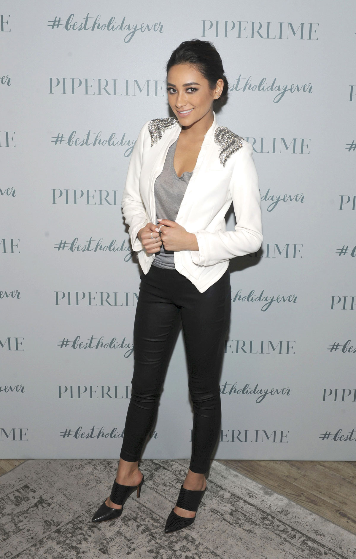 Shay Mitchell attends Piperlime Store Holiday Celebration