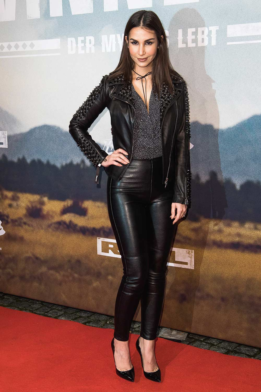 Sila Sahin black leather pants