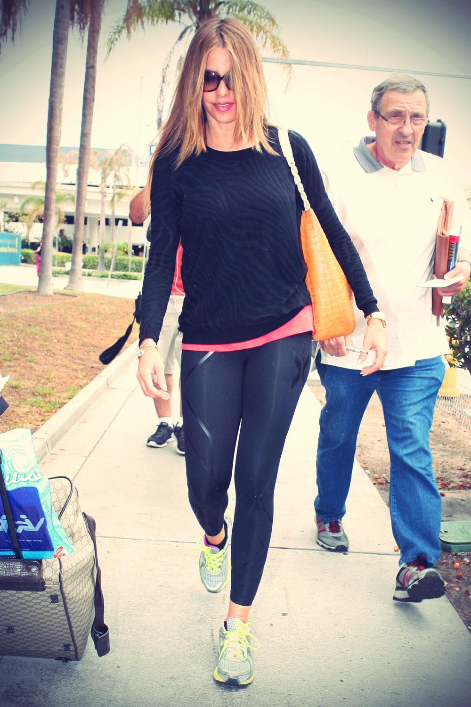 Sofia Vergara arriving on a flight at LAX airport