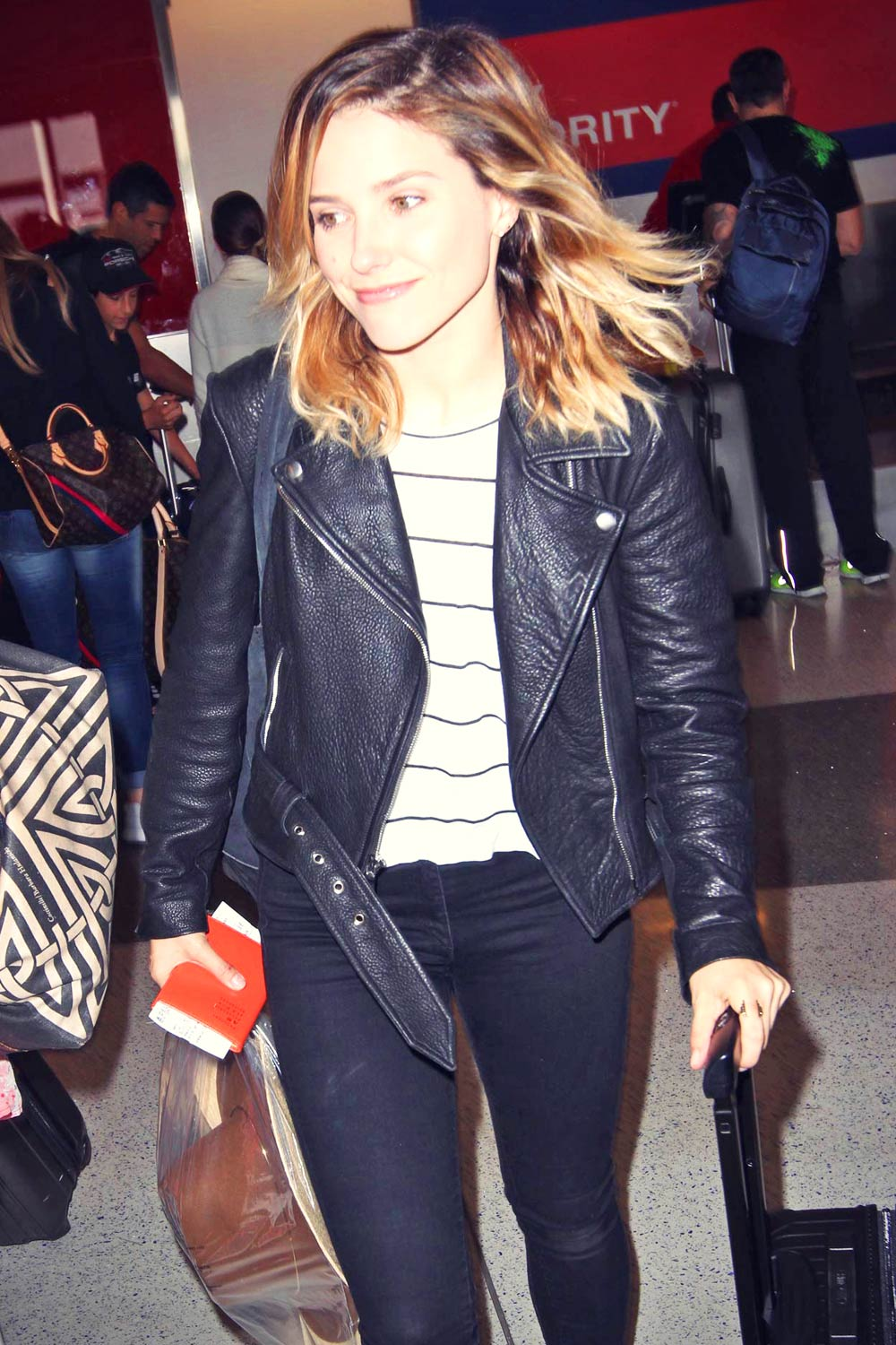 Sophia Bush At Lax Airport In Los Angel Leather Celebrities