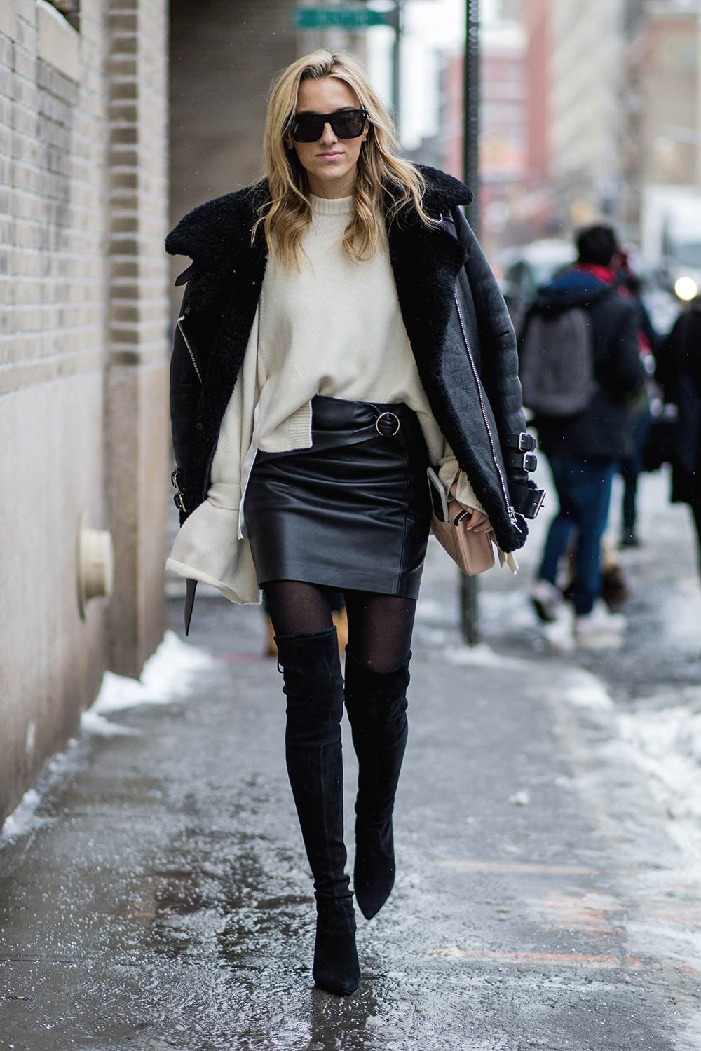 Street style at New York Fashion Week - Leather Celebrities