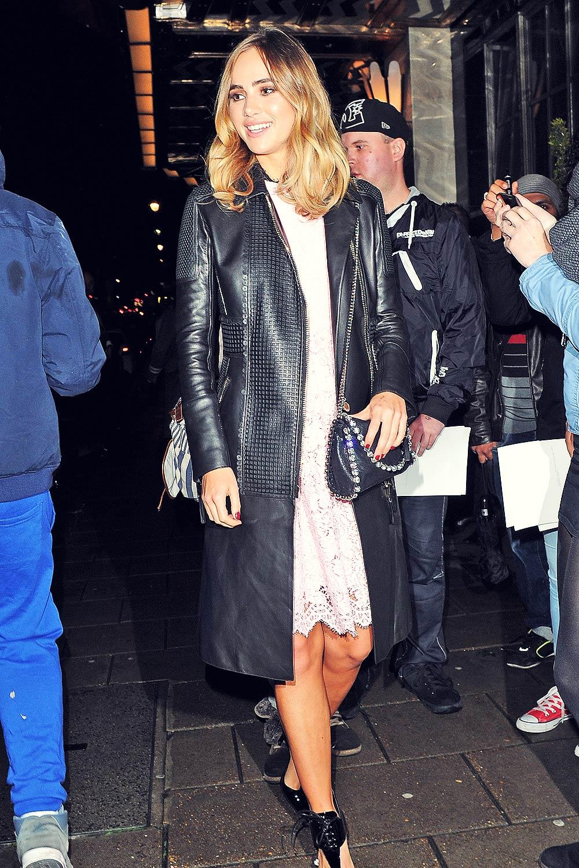Suki Waterhouse leaving Claridge's hotel - Leather Celebrities