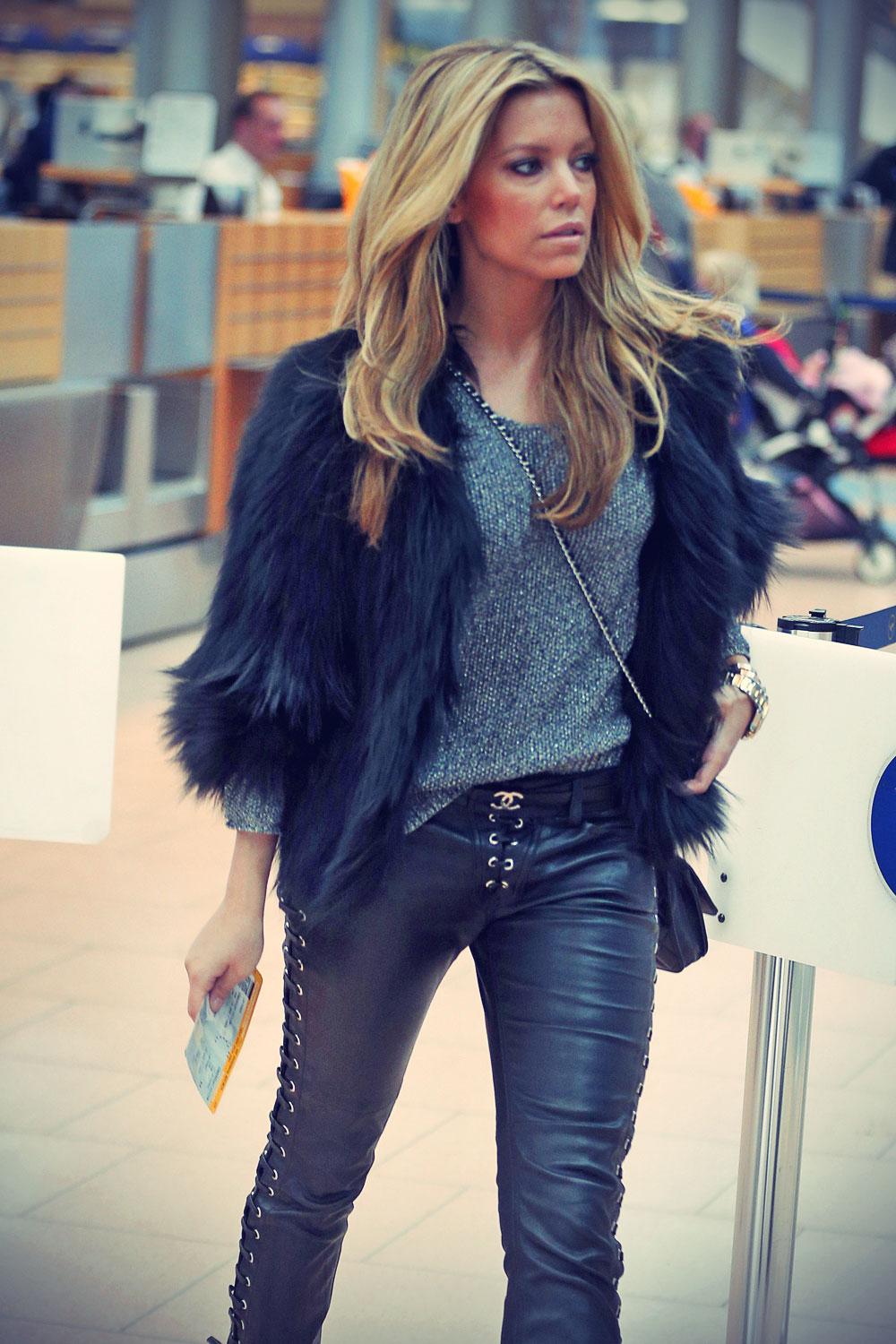 Sylvie van der Vaart at Hamburg airport