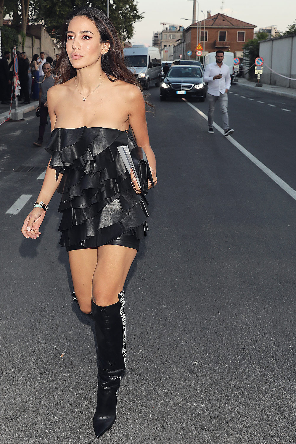 Tamara Kalinic arriving at Dsquared2 Spring/Summer 2019 Men's show