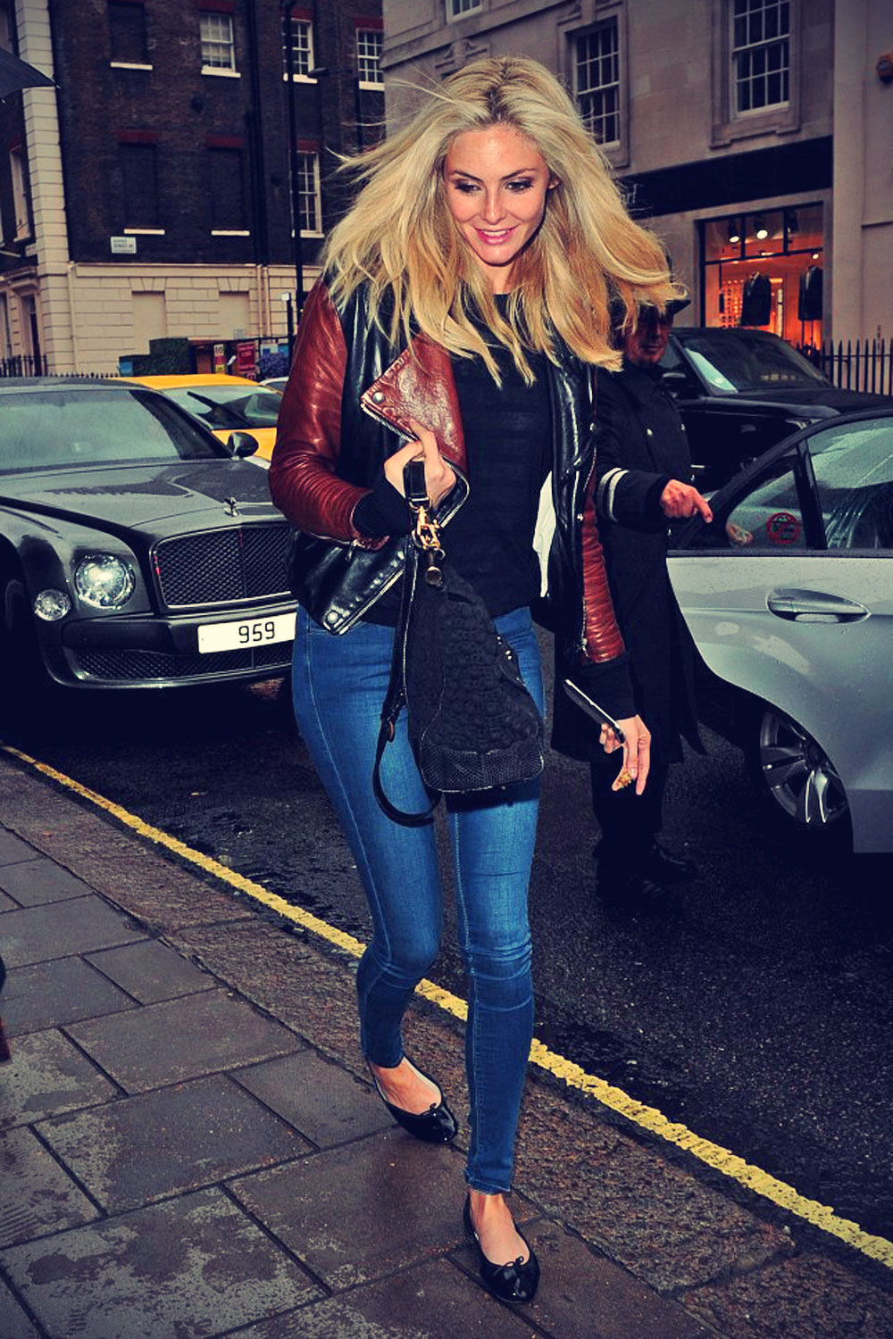 Tamsin Egerton arrives back at his London hotel