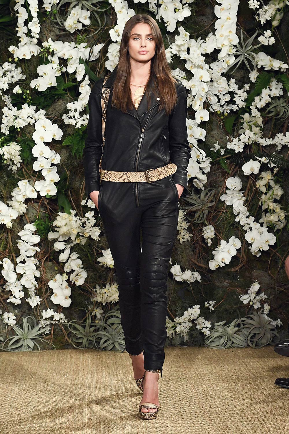 Taylor Hill walks the runway for Ralph Lauren collection