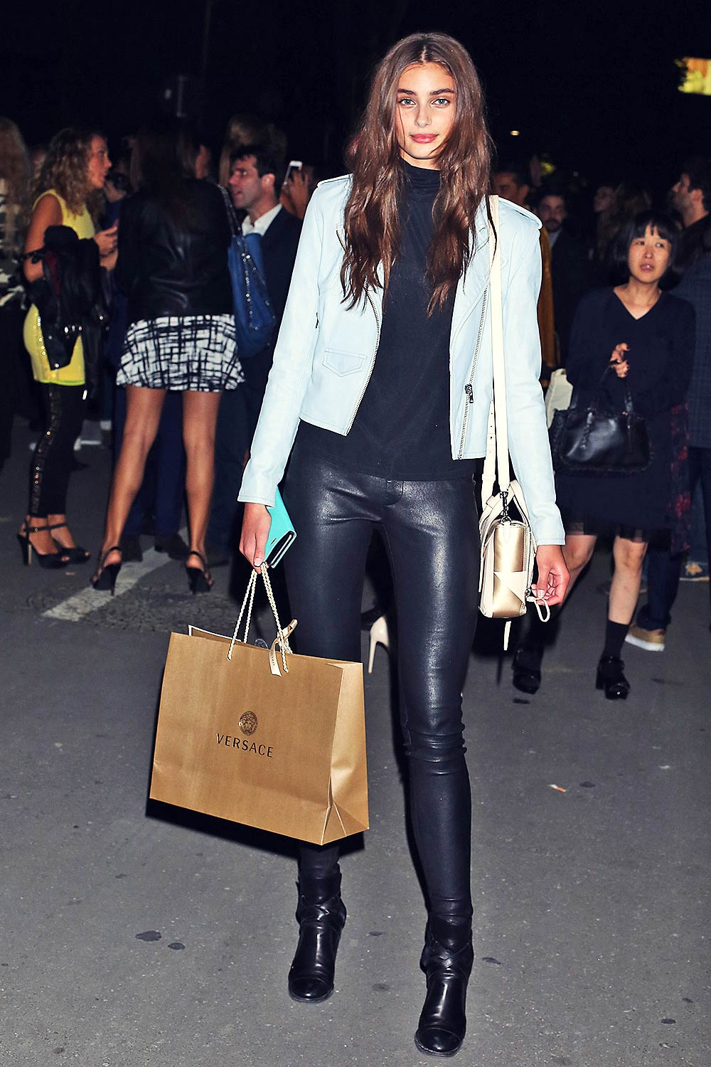 Findlay Ford Las Vegas Taylor Hill seen leaving Versace SS2016 show - Leather Celebrities