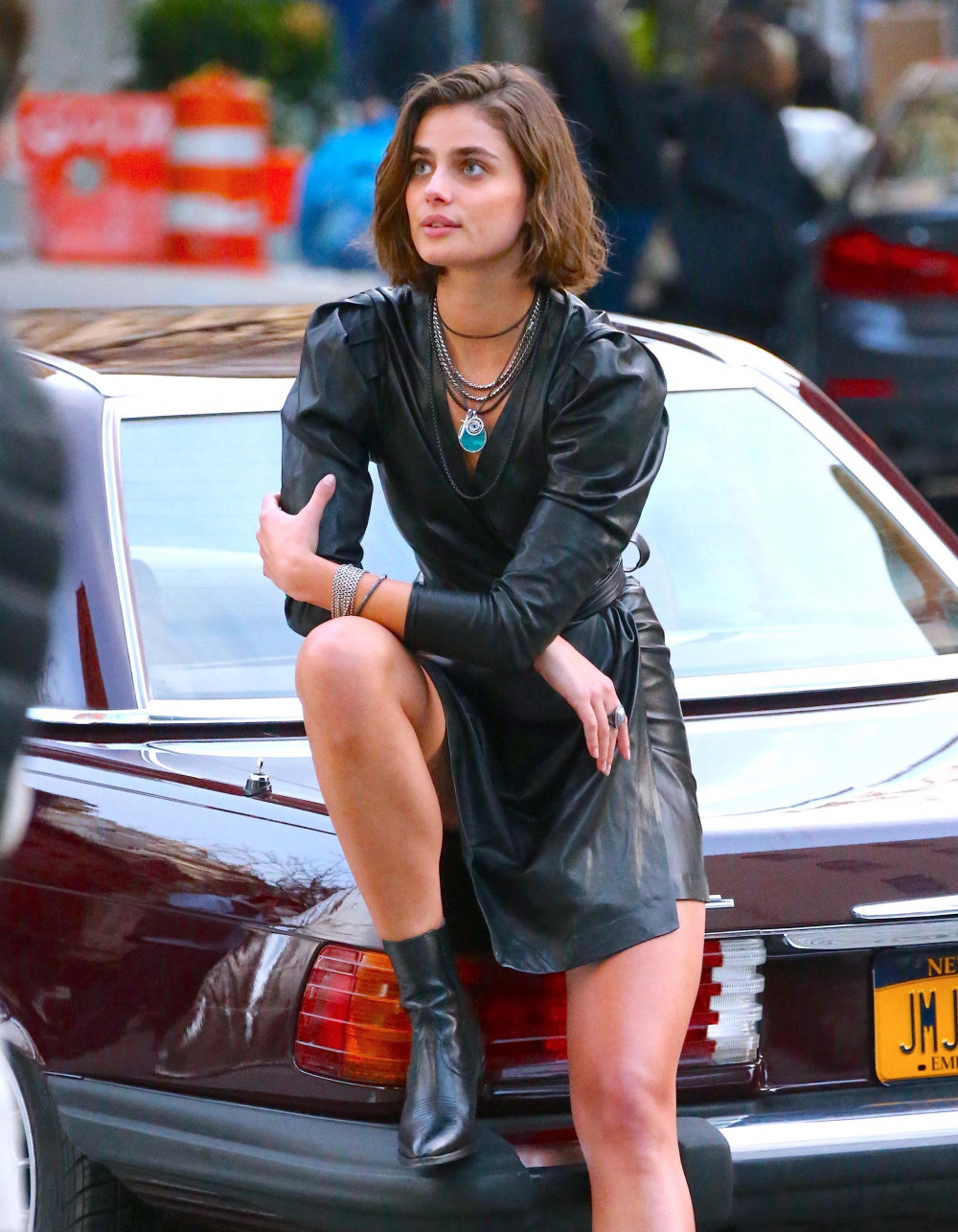 Taylor Marie Hill doing a photoshoot for the jewelery brand David Yurman in Tribeca, New York City