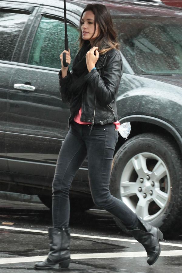 Torrey DeVitto stroll on a rainy day
