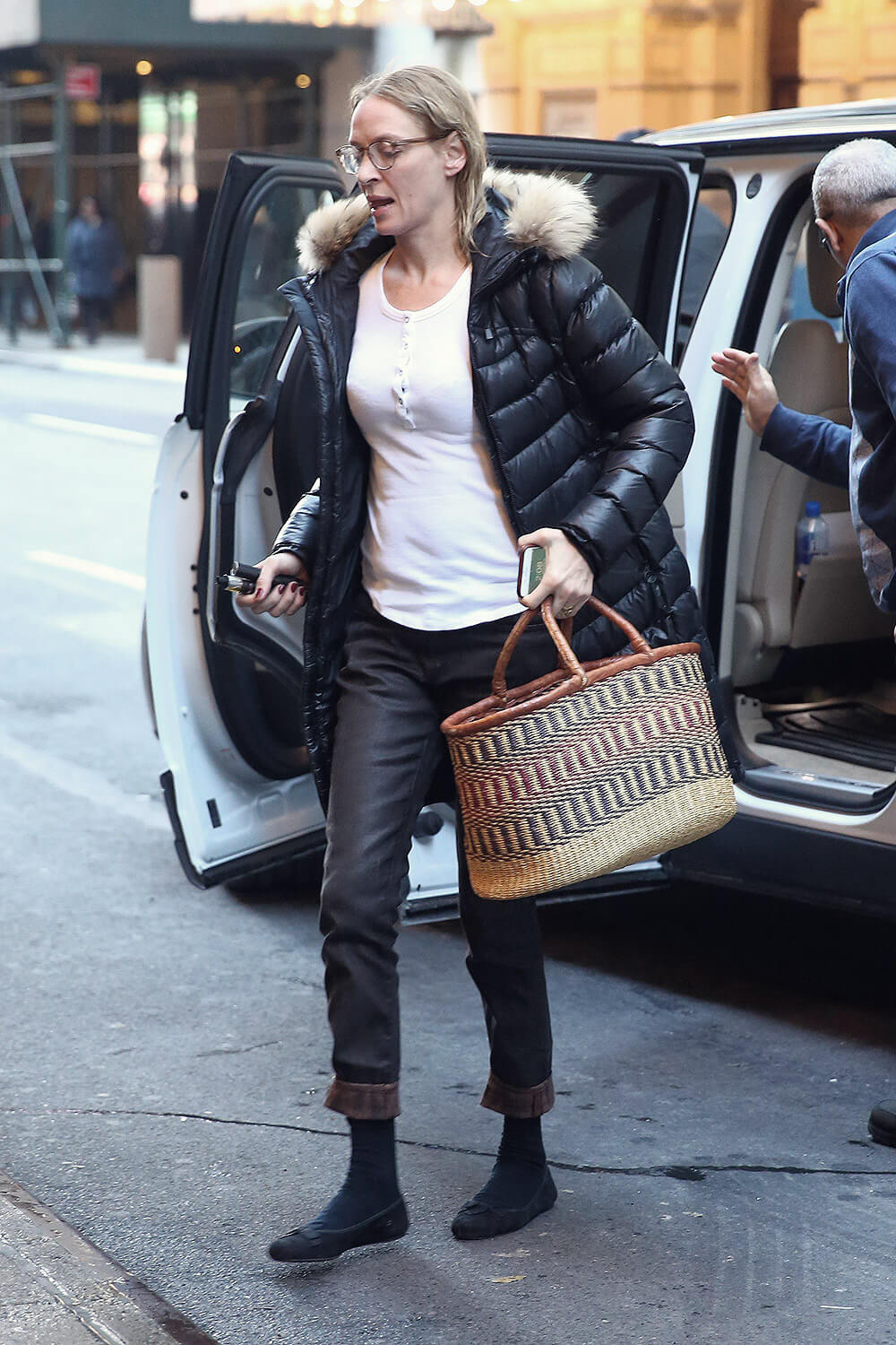 Uma Thurman arrives at the Hudson Theatre for her matinee performance