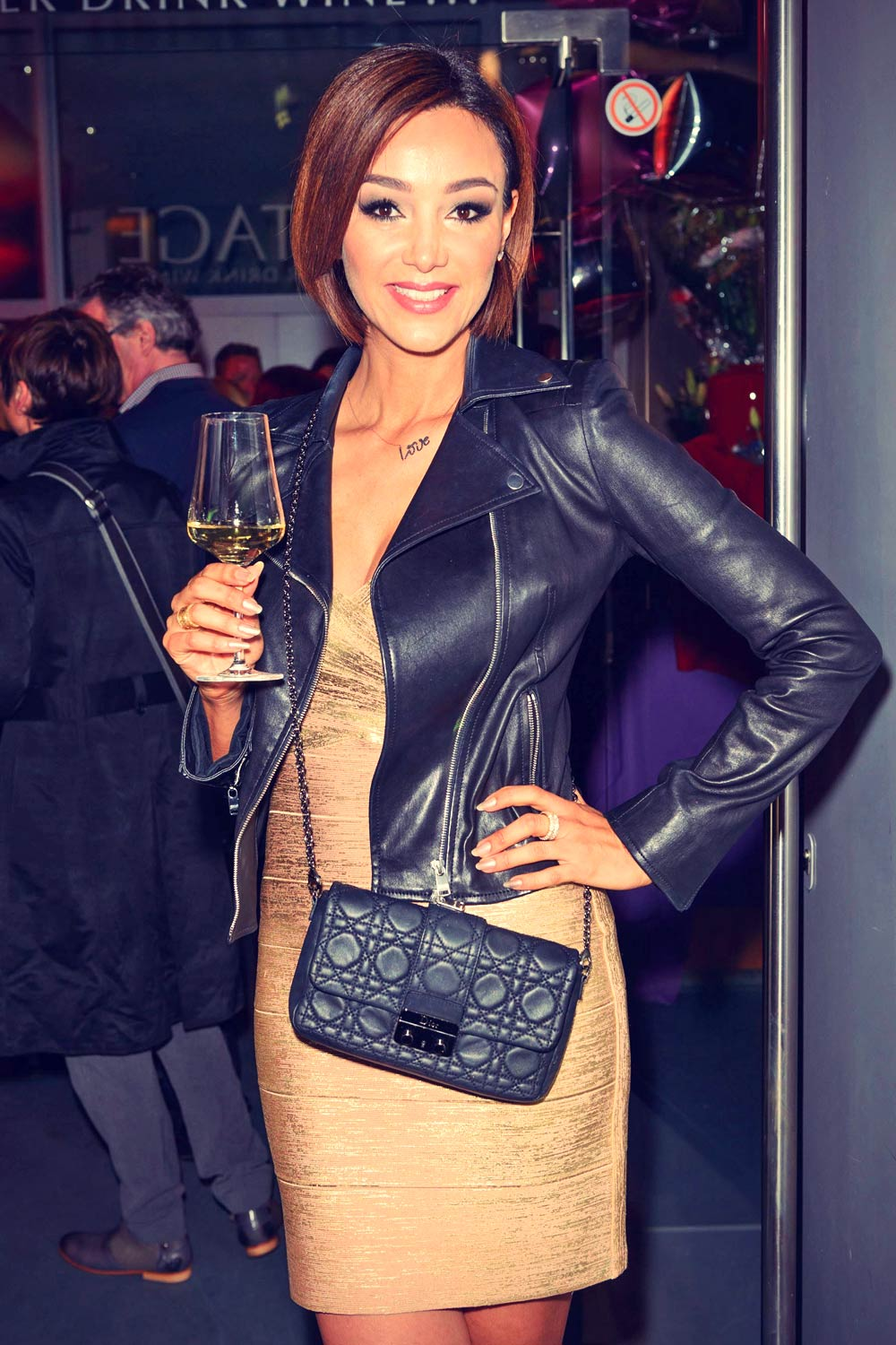 Verona pooth celebrating 50th birthday of katja burkhardt leather