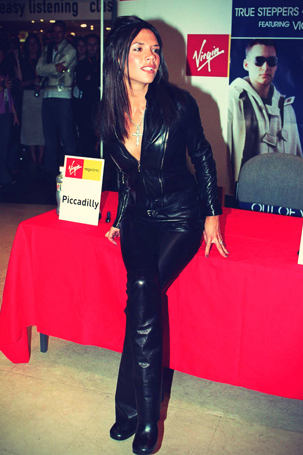 Victoria Beckham in leather outfits