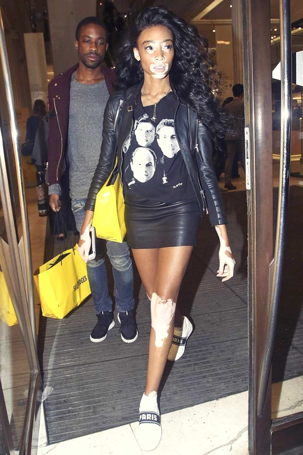 Winnie Harlow seen out on Oxford Street