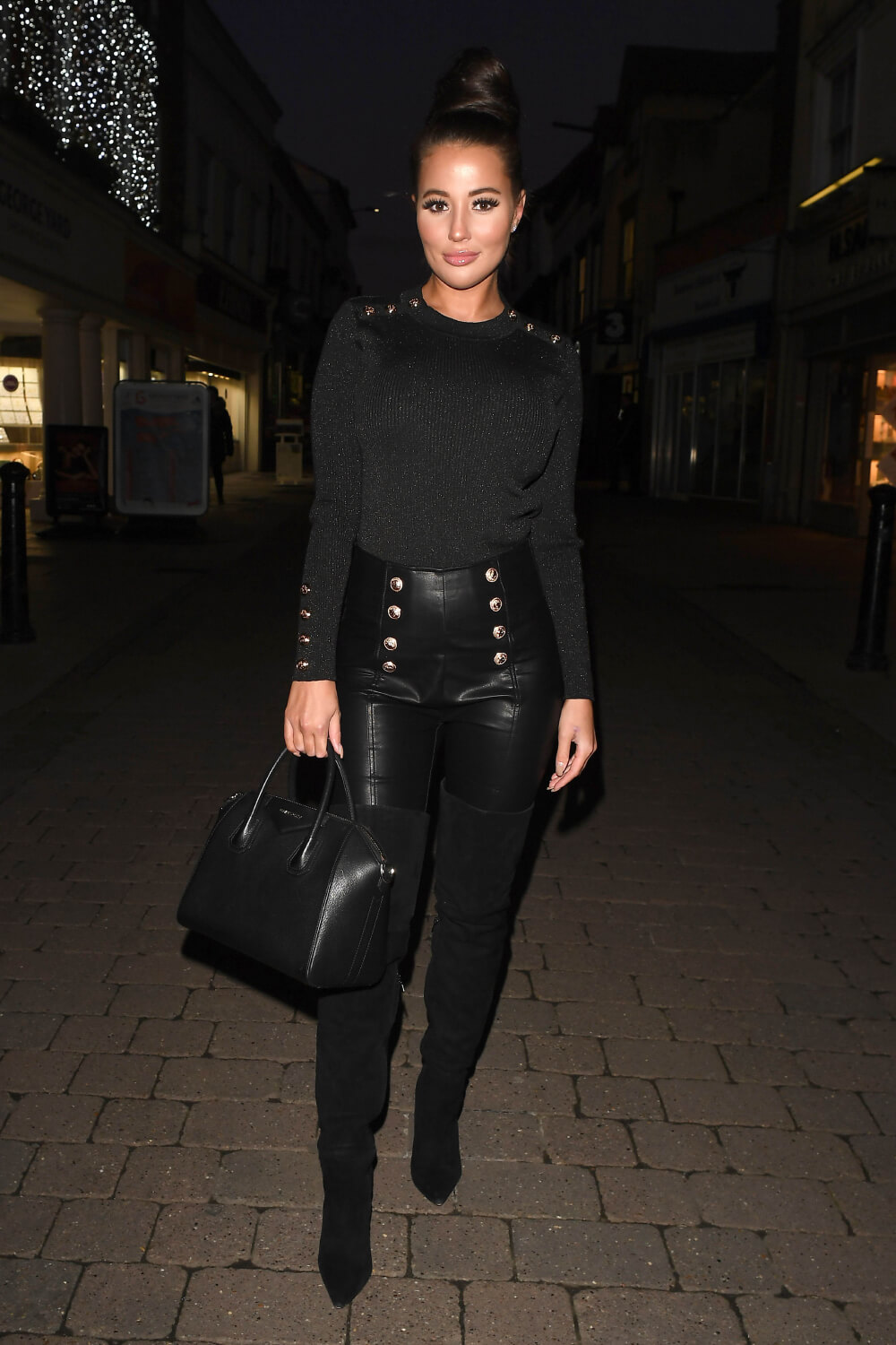 Yazmin Oukhellou at The Only Way is Essex Christmas Special filming