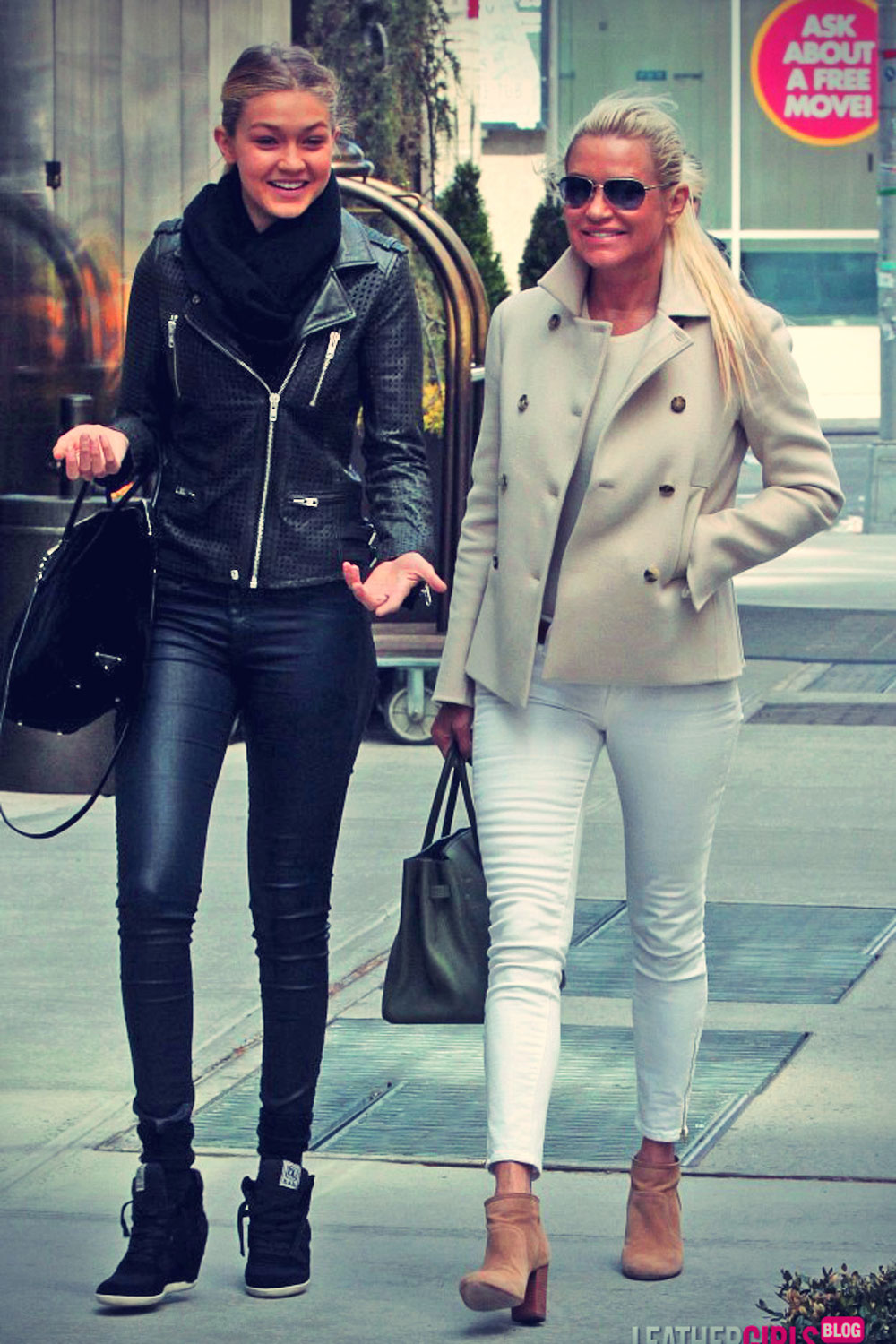 Yolanda Foster and her daughter Gigi out and about Soho