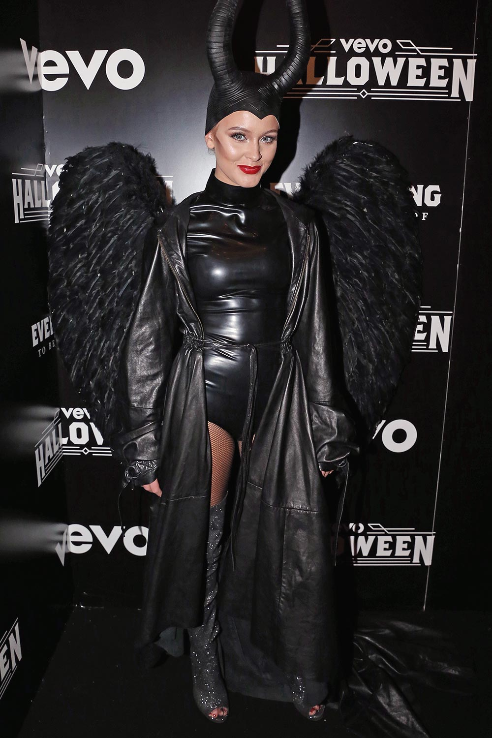 Zara Larsson attends VEVO's Halloween event at Bromley-Moore Dock