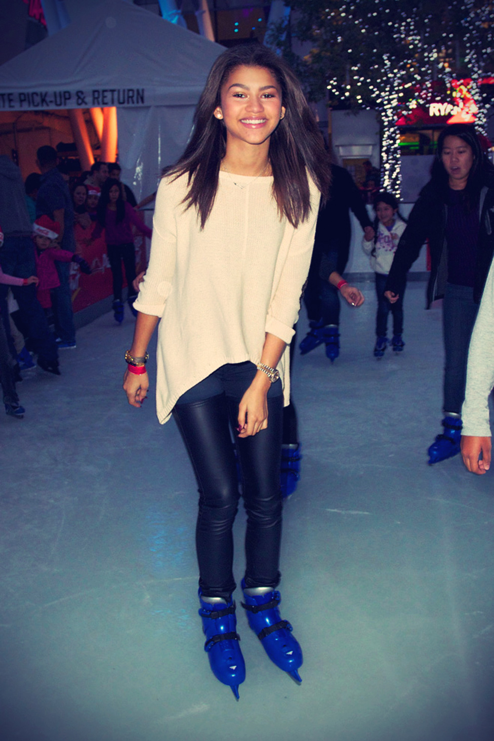 Zendaya is seen ice skating