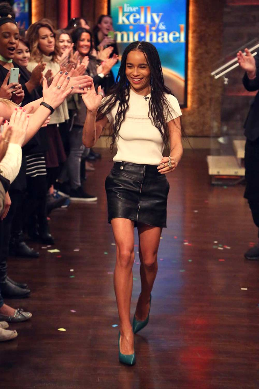 Zoe Kravitz making her way on stage at Live! With Kelly and Michael