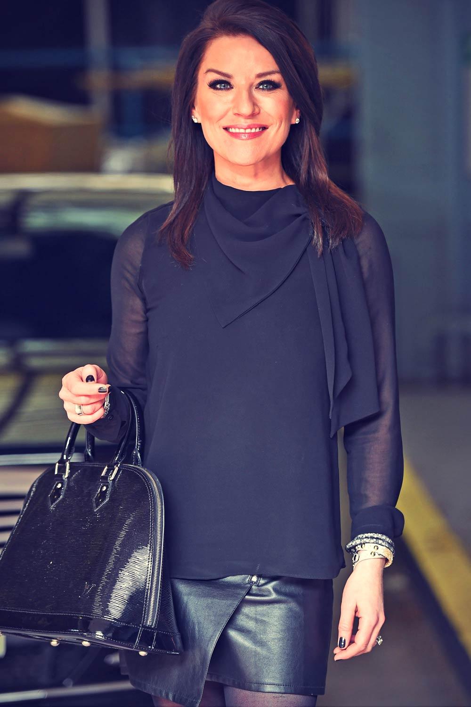 Zoe Lucker Seen Outside The London Studios Leather