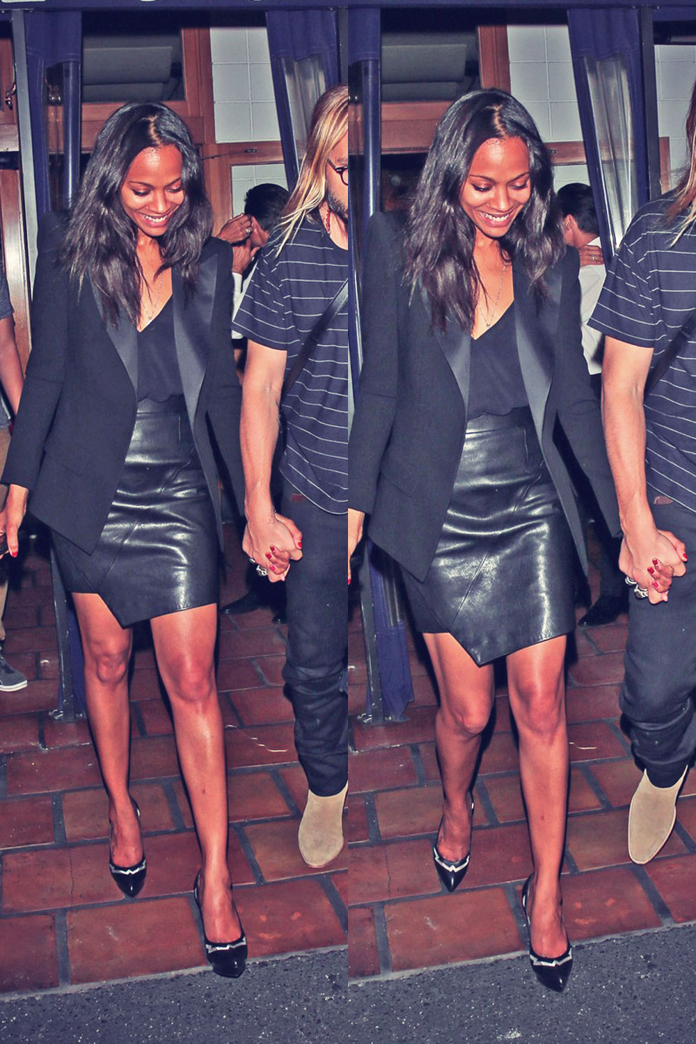 Zoe Saldana leaves a celebration at Locanda Portofino