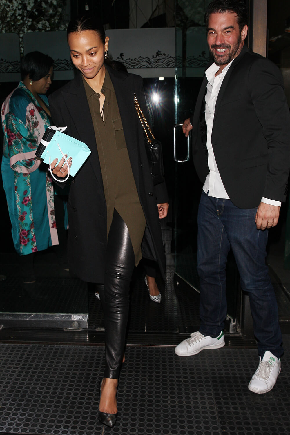 Zoe Saldana is seen leaving Mr Chow restaurant
