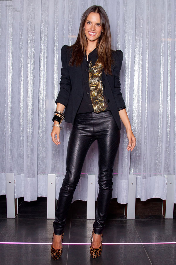 Alessandra Ambrosio poses at Victoria's Secret Holiday 2011 Collection Launch
