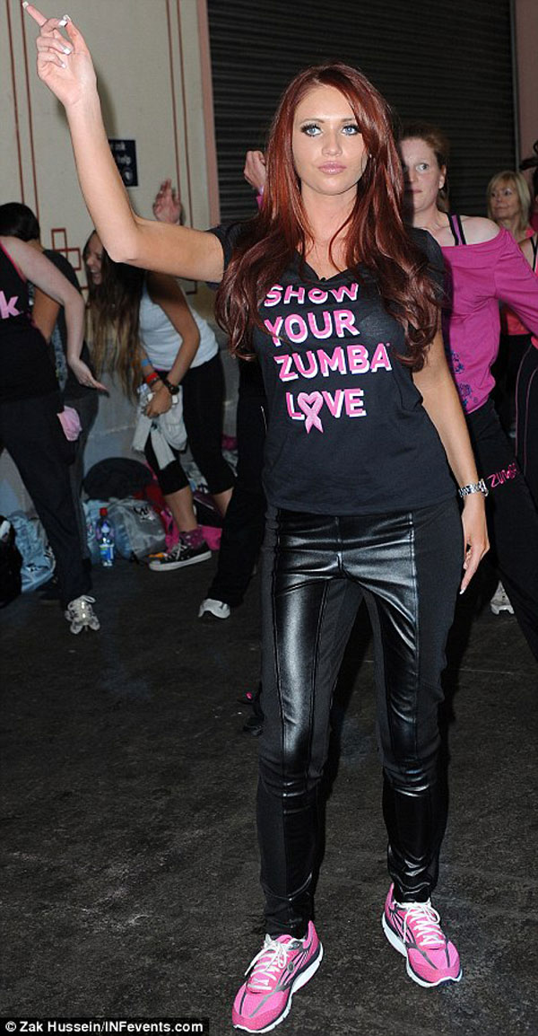 Amy Childs strutted her stuff at the Pink Zumbathon Party