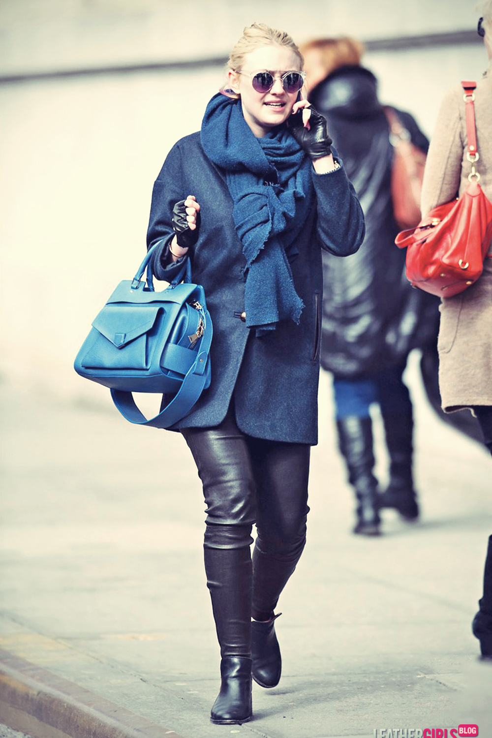 Dakota Fanning chats on the phone in NYC