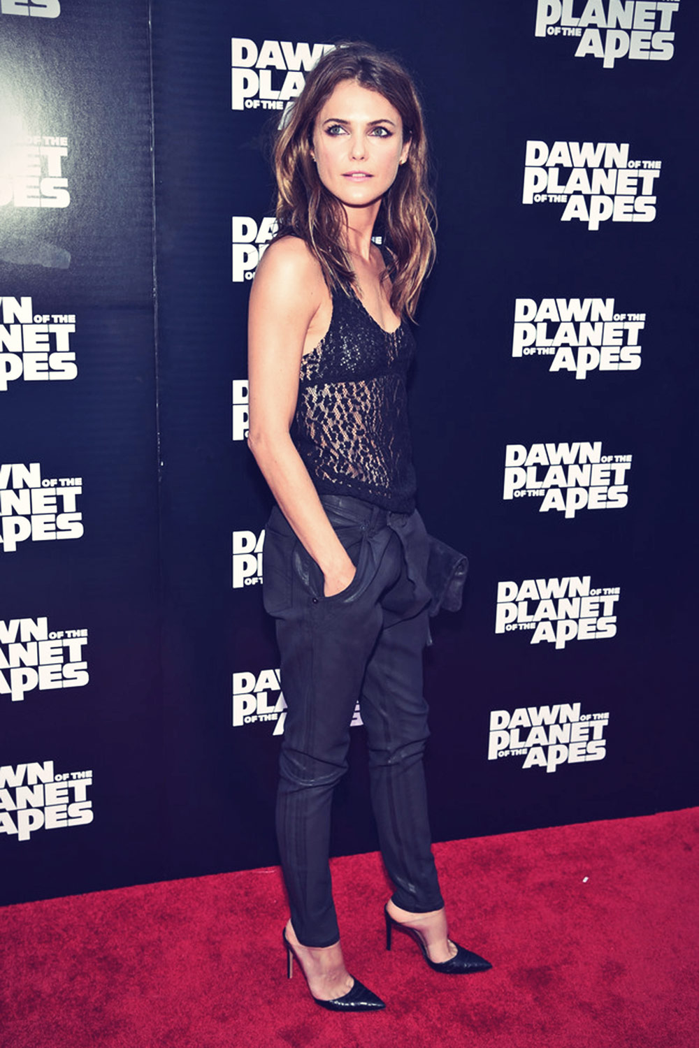 Keri Russell attends the Dawn Of The Planets Of The Apes premiere