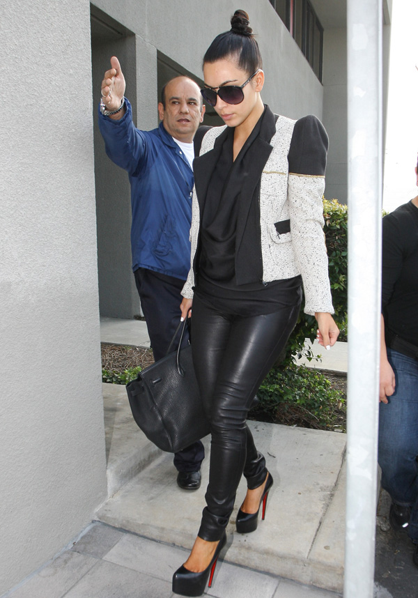 Kim Kardashian leather trousers