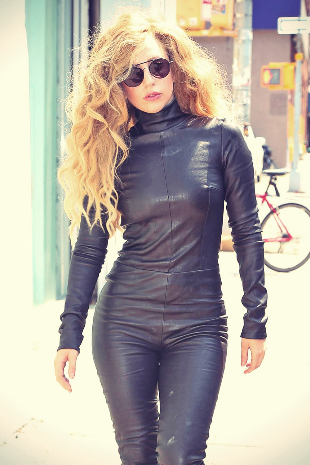 Lady Gaga Out And About In New York City Leather Celebrities