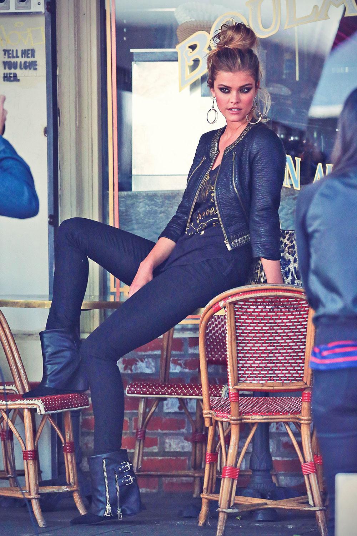 Nina Agdal on a photoshoot in Los Feliz
