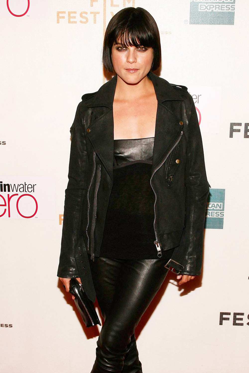Selma Blair leather pants