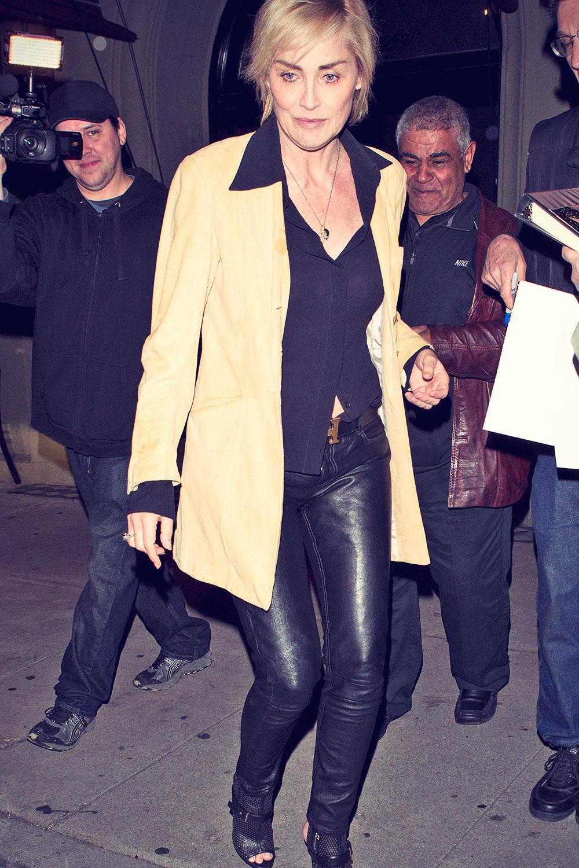 Sharon Stone leaving Craig's Restaurant